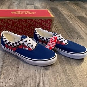 Vans era plaid checkerboard blue and red shoes